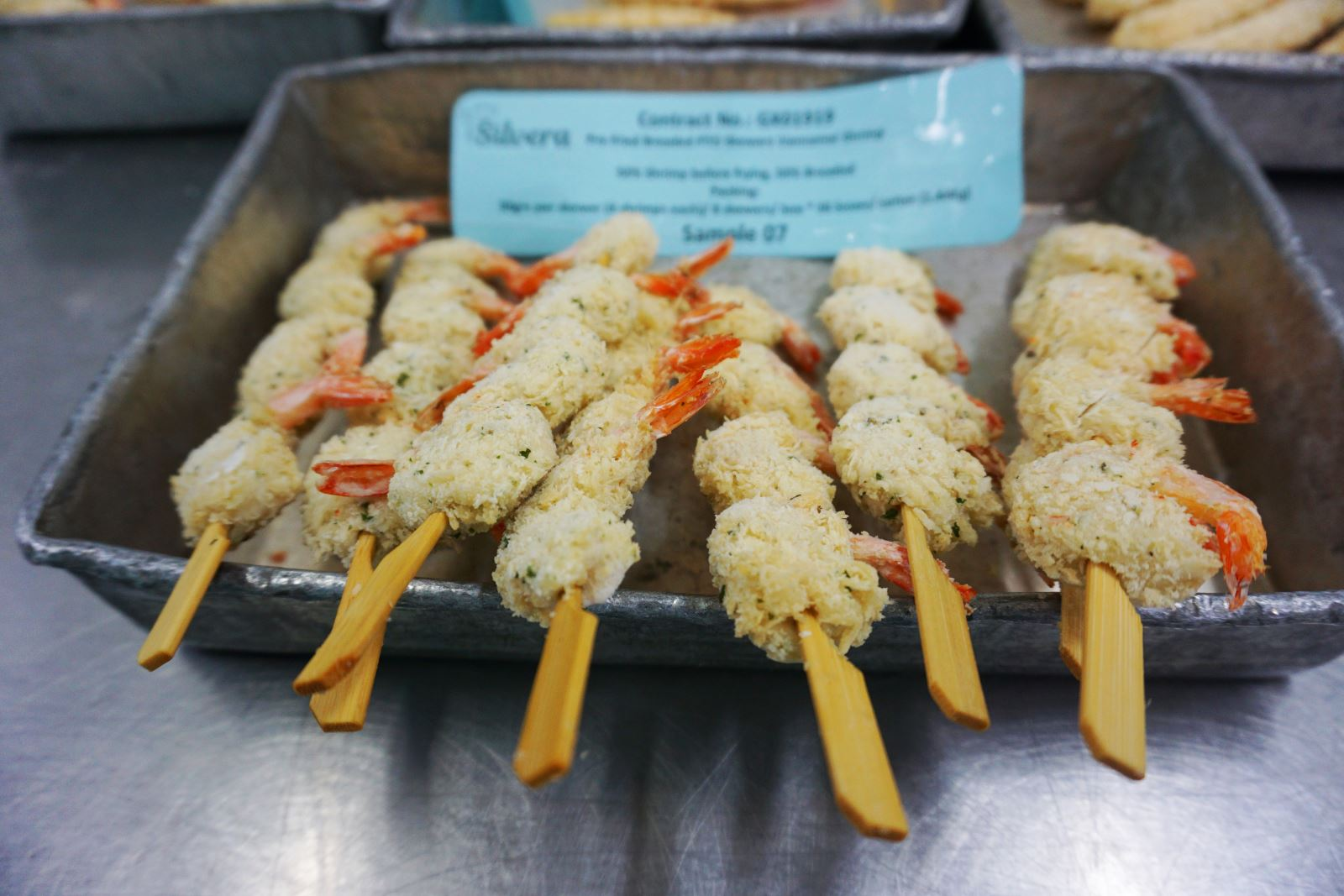 Frozen Pre-fried Skewered Vannamei Shrimp